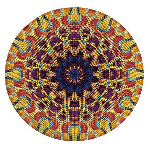 Mantel ajustable de poliéster con bordes elásticos, diseño de mosaico geométrico, colorido con figuras curvas y decoración india, para mesas redondas de 45 a 48 pulgadas, para fiestas de Navidad P