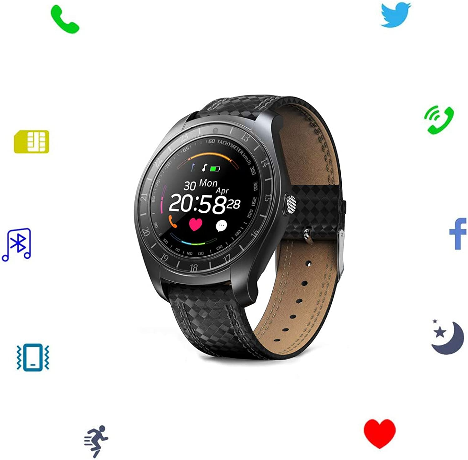 Sport Smart Watch Activity Tracker color Screen with Camera SIM Card Slot Fitness Sleep Tracker Calorie Counter Heart Rate Monitor for Android