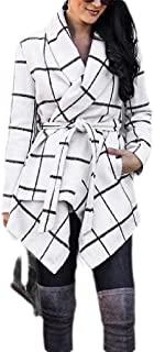 Macondoo Womens Winter Woolen Belt Outwear Warm Checkered Long Jacket Coat