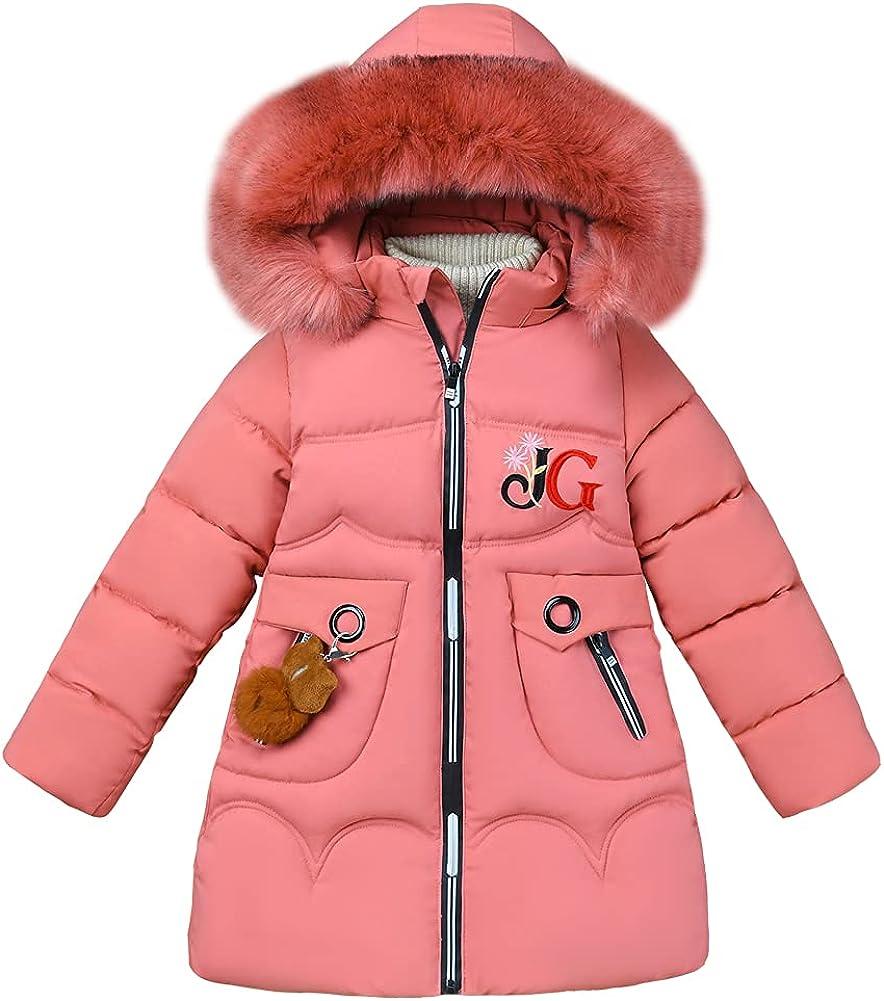 LSPAR Girl's Hooded Winter Down Coat Plush Brown Bear Printed Jacket with Fur Trim