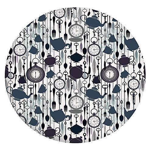 Mantel ajustable de poliéster con bordes elásticos, elementos de vajilla antiguos, reloj de plumas, estilo victoriano, para mesas redondas de 142 a 152 cm, protección para tu mesa, color azul pizarra