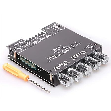 Damgoo 50 W + 50 W + 100 W 2.1 canal amplificador de subwoofer con control de agudos y graves, doble chip TPA3116, DC 12-24 V, entrada Bluetooth y AUX, altavoces inalámbricos DIY AMP Board, sin contraseña