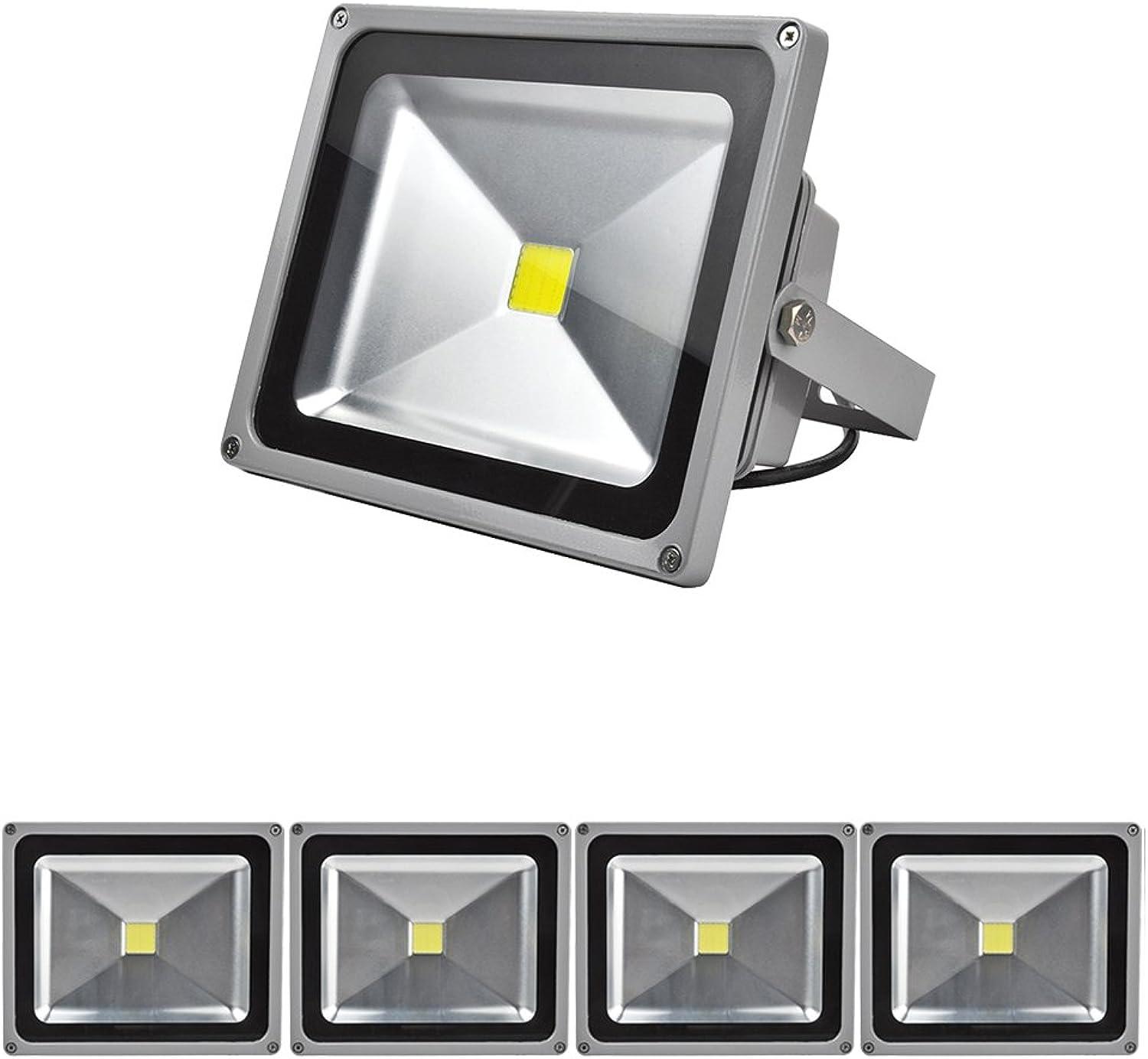 Grünmigo 5x 30W LED Fluter Strahler Gartenlampe Kaltwei Licht mit Silbergrau Aluminium Gehuse Wasserdicht IP65 85-265V