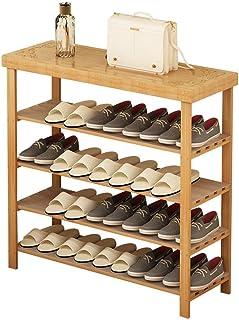 LIPENLI Racks Chaussures 4 Tier Bamboo Shoe Rack Banc de Rangement Organisateur Porte-31.5 '' x 10,6 '' x 33,8 '' Gain de ...