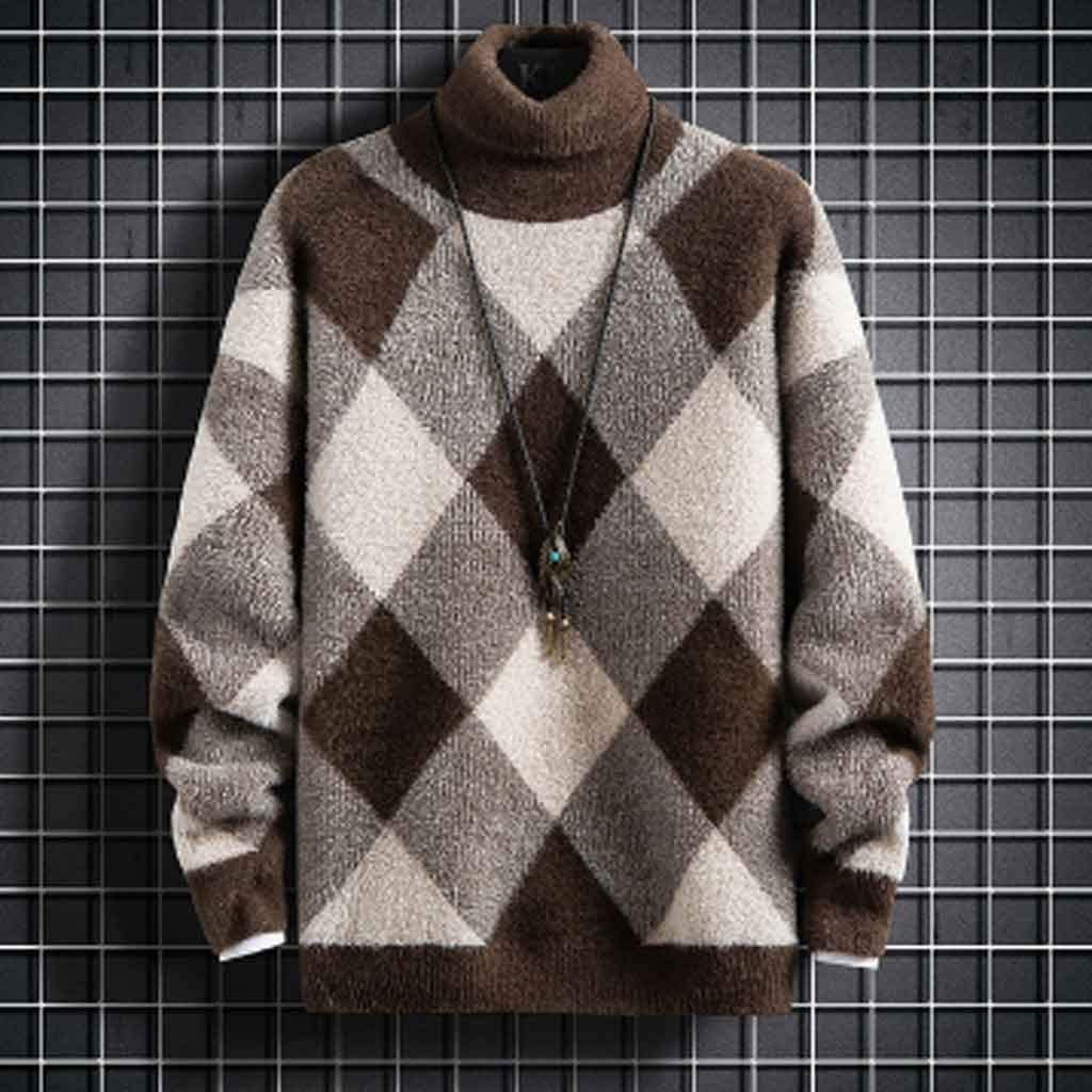 ZYING Super Warm Mink Cashmere Sweater Men New Winter Turtleneck Pullover Jumper Soft Thick Pull Homme Fashion Mens Christmas Sweaters (Color : L Code)