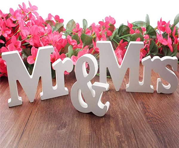 IronBuddy Mr Mrs Sign Letters 3D Wooden Letters Decoration Wooden Mr And Mrs Letters For Party Wedding Table Decoration Photo Props Small White
