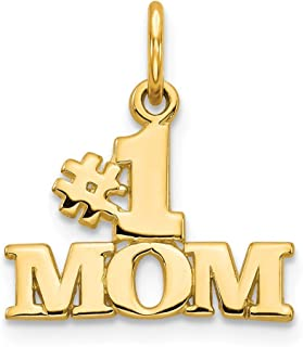 14k Yellow Gold #1 Mom Pendant Charm Necklace Fine Jewelry Gifts For Women For Her