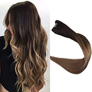 Full Shine 14 inch Sew in Hair Extensions Straight Hair Weft Ombre Balayage Hair Color #2 Fading to #6 and #18 Ash Blonde Hair Extensions Good Quality 100g/Package