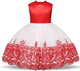 SEASHORE Girls 3-8 Years Off Shoulder Bowknot Princess Dress Satin Flower Girl Wedding Costume Piano Performance Clothing (Color : Red, Size : 3Y)