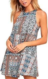 Jojckmen Women Floral Dresses Summer Sleeveless Girls Boho Halter Dress Plus Size
