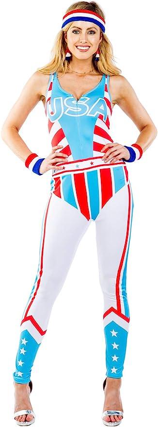 80s Costumes, 80s Clothing Ideas- Girls Womens 90s Patriotic Gladiator Bodysuit - Warrior Halloween Costume  AT vintagedancer.com