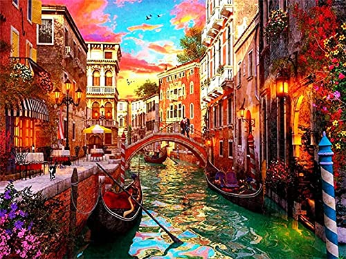 5D DIY Diamond Embroidery Painting Town Full Square Drill Cross Stitch Landscape Mosaic Venice Needlework Home Decoration A11 45x60cm