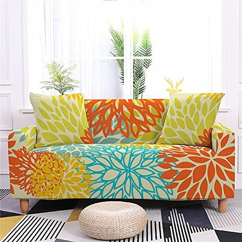Funda Sofa 4 Plazas Chaise Longue Flor Verde Naranja Fundas para Sofa con Diseño Universal,Cubre Sofa Ajustables,Fundas Sofa Elasticas,Funda de Sofa Chaise Longue,Protector Cubierta para Sofá