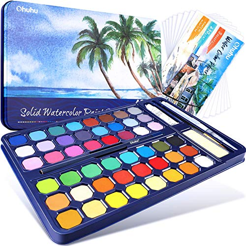 Watercolor Palettes Paint Set, Ohuhu Set of 48 Assorted High Pigment Fundamental Watercolor Pan Watercolor Pallet with Water Brush Pen, Watercolor Pad for Artists, Beginner, Student Valentine's Day