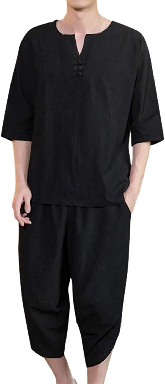 Men's Summer Fashion Casual Comfortable Cotton-Hemp Short Sleeve Shorts Suit