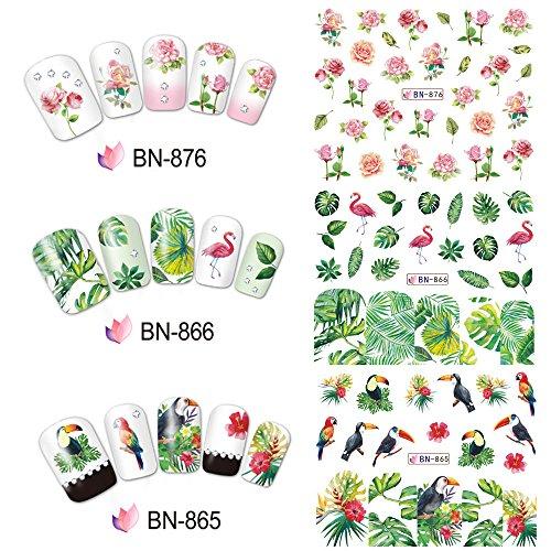 zroven 1 Blatt Nail Sticker Set gemischt Sommer Rose Daisy Flamingo Blume Nagelpapier Tipp Nail Art Styling Set DIY Wasserzeichen Maniküre