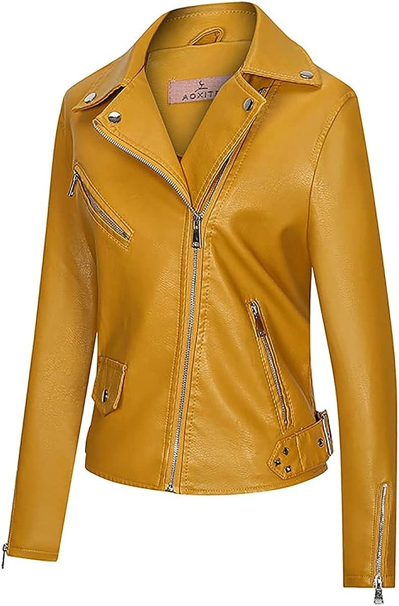 Women's Faux Leather Slim Biker Motorcycle Jacket For Girls Stylish Coat