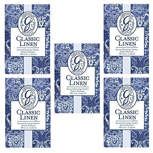 5x Greenleaf Classic Linen Duftsäckchen für Schublade, 9 x 6 cm, 5 Beutel à 9 x 6 cm