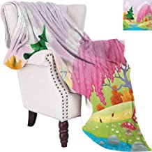 MKOK Cartoon Bedding Microfiber Blanket Fantasy Landscape with Unusual Trees Riverside Drawing Spring Summer Season Print Super Soft and Comfortable Luxury Bed Blanket W91 x L60 Inch Multicolor