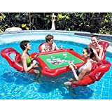HOMEJU 4-Person Island Inflatable Water Group Pool Float,53' Diameter