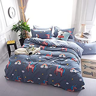 4pcs Beddingset Duvet Cover Set Without Comforter Microfiber Fabric Kids/Adults Popular Twin Full Queen Pineapple Flower New Unicorn Design (Twin,58