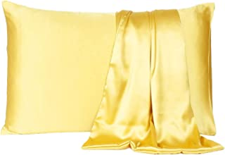 DZY Satin 600 TC Pillow Cover/ Pillow Cases/ Pillow Protectors Soft & Silk for Hair & Skin Standard Pillow Cover Set of 2 ...