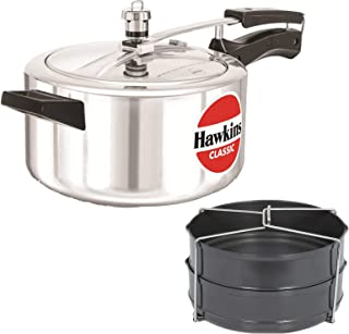 Hawkins Classic 4 LTR Pressure Cooker with Hard Anodised 2 Pc Separater Cooker Dabba and Stand