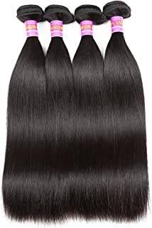 RN BEAUTY Brazilian Straight Virgin Hair 4 Bundles Deals 8A Unprocessed Remy Hair Mink Good Cheap Weave Wefts Human Hair Extensions 50g/Piece 200Gram Natural Black Color 10 10 10 10 Inches