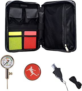 Firelong Soccer Referee Kit Football Soccer Coach Ref Cards Whistle Ball Pressure Gauge Coins in a Multi-Pocket Carryig Bag