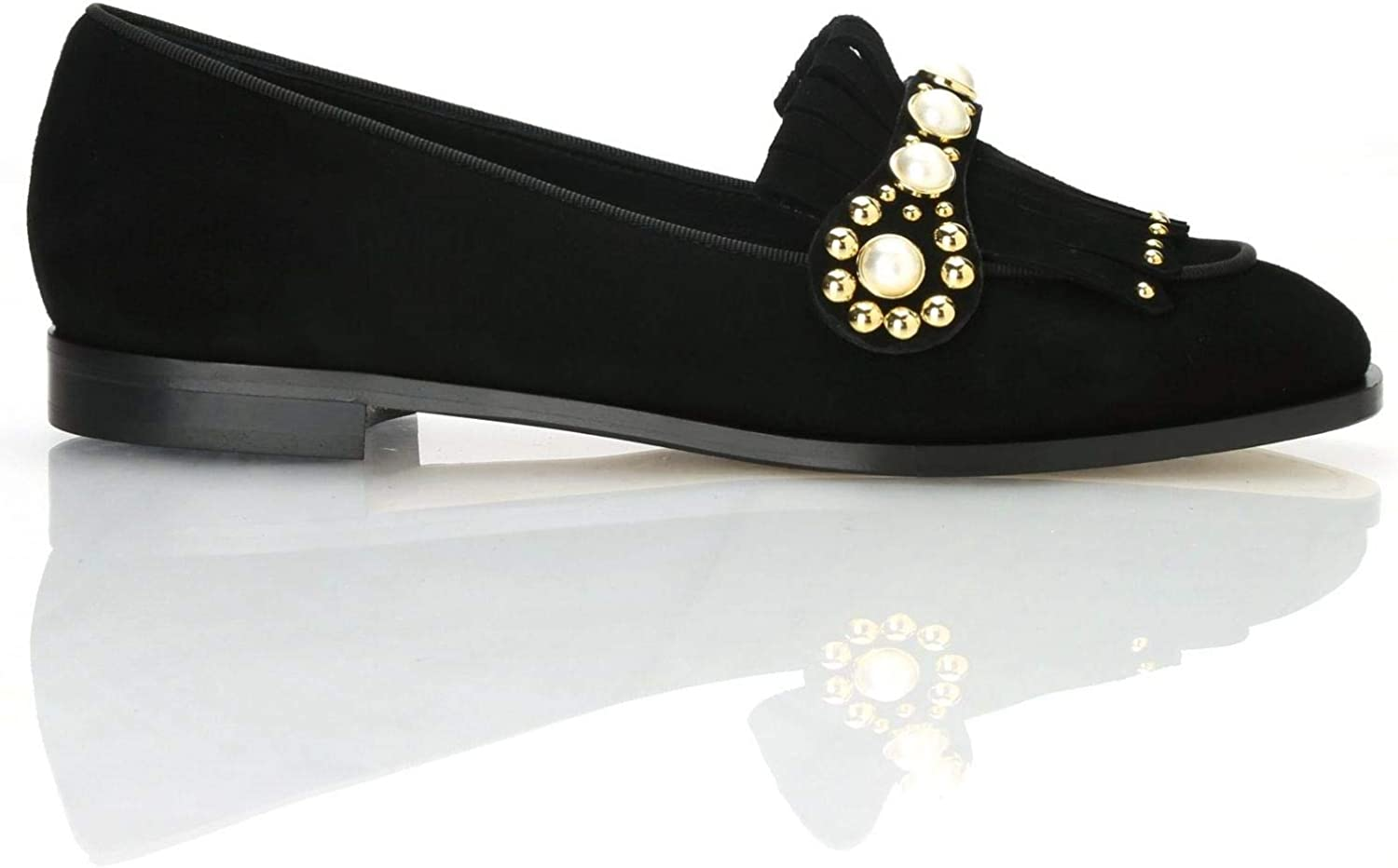 NINALILOU - Slippers Assia in schwarz Suede with Pearls Pearls - 272561ASSIA 152  hohes Ansehen