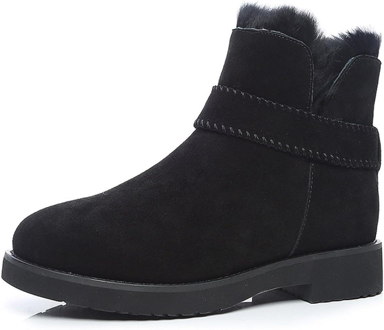 GSHGA Echtes Echtes Echtes Leder Schneestiefel Damen Winter Plus Samt Warme Wolle Baumwolle Stiefel Flache Schuhe 821