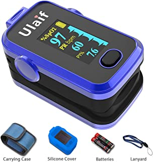 Pulse Oximeter Fingertip, OLED Blood Oxygen Saturation Monitor for Pulse Rate and SpO2 Level, Suitable for Sports, Exercise and Aviation Use with Lanyard and Batteries