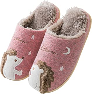 Unisex Woolen Soft Warm Indoor Slippers with Cute Embroidered Animal Hedgehog