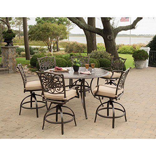 Hanover TRADDN7PCBR Traditions 7-Piece Rust-Free Tan Cushions, 6 Counter-Height Swivel Chairs and Aluminum Round Bar Table Outdoor Furniture