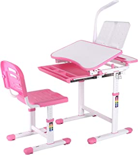 POTBY Kids Desk and Chair Set, Height Adjustable Children Study Table with Wood Tiltable Anti-Reflective Tabletop, Booksta...