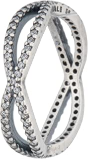 Sterling Silver Crossing Paths Stackable Ring with Clear Cubic Zirconia - 190930CZ-58