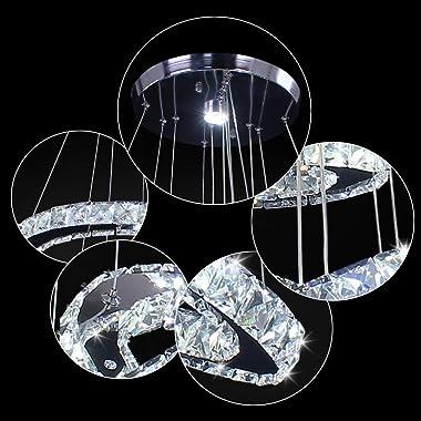 LED Chandeliers, Modern Crystal Chandelier Dining Room Living Room LED Ceiling Pendant Light 4 Rings Adjustable Stainless Ste