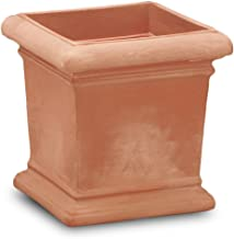 Crescent Garden Dorchester Square Planter, Weathered Terracotta, 18 by 18-Inch