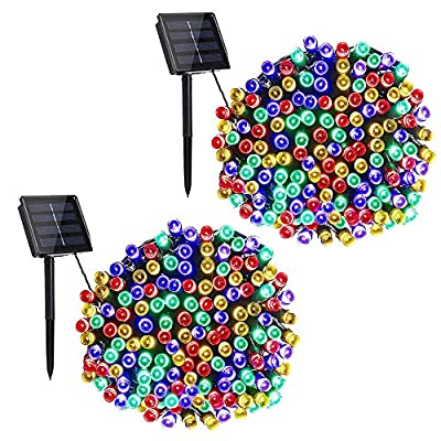 Toodour Solar Christmas Lights, 2 Packs 72ft 200 LED 8 Modes Solar String Lights, Waterproof Solar Outdoor Christmas Lights for Garden, Patio, Fence, Balcony, Christmas Tree Decorations (Multicolor)