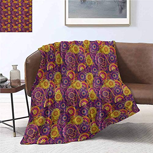 alisoso Vintage Soft Blanket 40x50 Inch Traditional Paisley Motifs Pattern Oriental Design Flower Ornaments Curvy Antique Soft Cozy Blanket for Bed Couch and Gift Blankets Multicolor