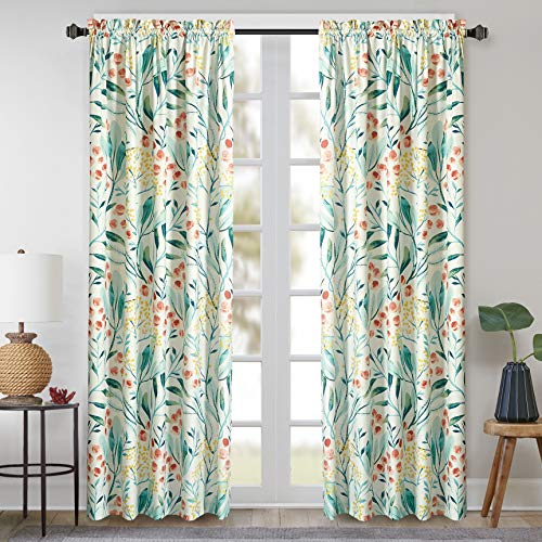 Sunclipse Modern Floral Bybery Window Curtain Panel, 50x63, Green