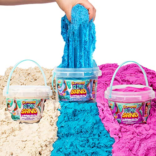 SLIMYSAND by Horizon Group USA, 4.5 lbs of Stretchable, Expandable, Moldable Non-Stick Slimy Play Sand in 3 Reusable Buckets