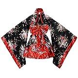 tzm2016 - Kimono japonés con diseño de flores de cerezo, algodón, Rojo, Small