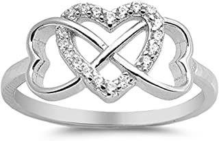Adena's Jewelry Box Triple Heart Shaped Infinity Celtic Knot Ring .925 Sterling Silver with CZ Band Sizes 4-12