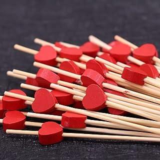 100pcs Palillos para Cócteles, 12CM Palillos de Cóctel Brochetas de Bambú, Brochetas de cóctel de corazón Rojo, Decoración de Pastel Palillos para Fiesta y Boda Decoración