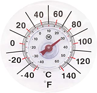 """Marathon Housewares BA030003US 7"""" Rubber Suction Cup Window Thermometer, Clear"""