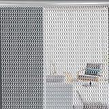 EBTOOLS Cortina para puerta de metal con cadena, pantalla con cortina de aluminio para mantener fuera las moscas e insectos (plata) 90 x 210 cm
