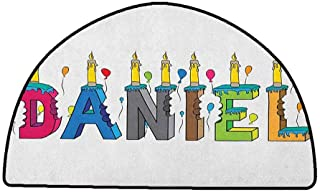 Living Room Bedroom Carpets Daniel,Grooving Cheerful Male Name with Happy Occasion Birthday Theme Bite Marked Cake, Multicolor,W35 x L24 Half Round Bathroom Rugs