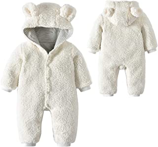 1e900f343d0a Lucoo Baby Romper Newborn Baby Boys Girls Cartoon Bear Ears Warm Fleece  Hooded Romper Jumpsuit