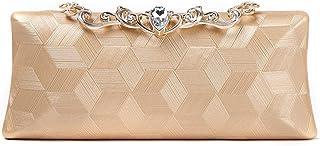 Songlin@yuan Women's Fashion Diamond Banquet Clutch Bag Messenger Bag Shoulder Bag Wedding Party Evening Bag Black/Gold/Silver Size: 24 * 5 * 12cm (Color : Gold)
